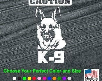 Caution K9 German Shepherd Vinyl Window Decal Sticker