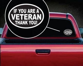Veteran Thank You Oval Vinyl Window Decal Sticker