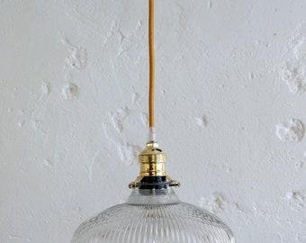 Vintage Lampshade transparent glass ceiling light fixture hanging type Holophane diameter 22 cm
