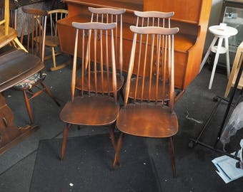 4 Original Vintage Ercol Goldsmith 369 Windsor Chairs. (can be painted on request at extra cost)