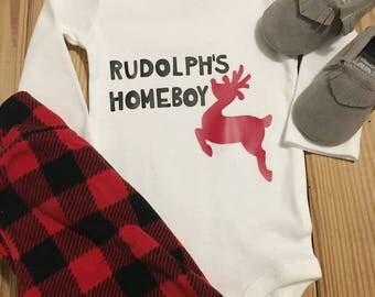 Rudolphs Homeboy, Christmas Onesie, Holiday Onesie, Christmas Baby, Rudolph, Rudolph Onesie, Baby Onesie, Baby Boy Onesie, Boy Onesie