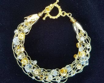 Silver and Gold Gold Wire, Quartz, Silver and Gold Bead Bracelet