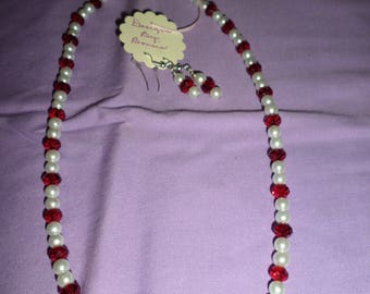 Fresh Water Pearls with Red Czech Glass Crystal Necklace and Matching Earrings