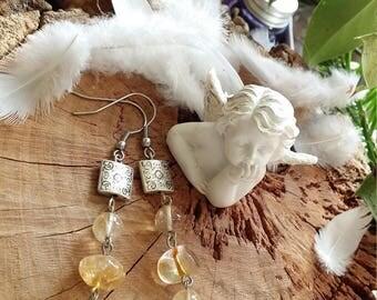 Boucles d'oreilles en citrine, en acier et en métal argenté par AngelS SignS