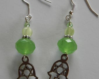 Hamsa with Star of David Earrings - Green crystal with french hook