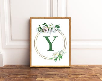 Monogram Printable Art - Letter Y - Nursery Decor - Initial Wall Art - Wedding Sign - Floral Wreath - Kids Wall Art - Girl Art
