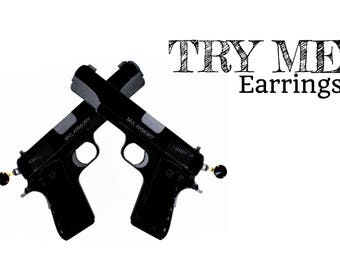 Try Me | Pistol Earrings | Large Black acrylic Hip hop