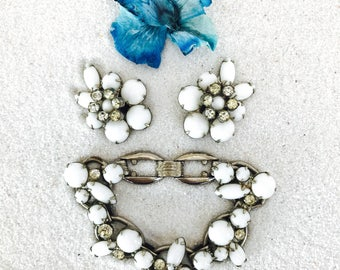 Vintage Juliana DeLizza & Elster White Milk Glass and Rhinestones in Silver | Bracelet and Matching Earrings | Demi Parure | Free Shipping