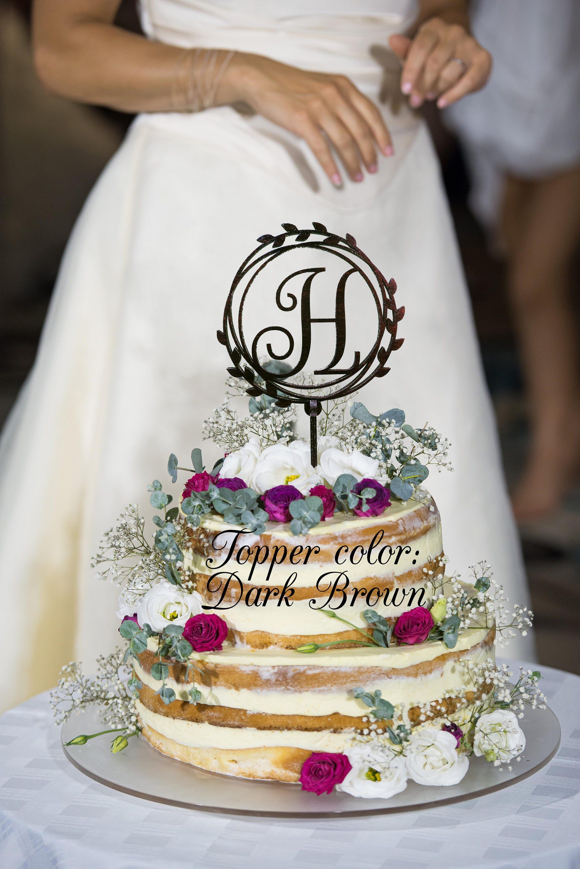 Wedding Cake Topper Letter H Gold Monogram