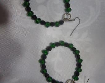 Handmade peridot and glass bead earrings