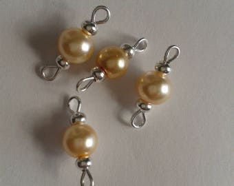 5 connectors 6mm beige glass pearl beads