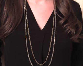 Labradorite Gemstone Long Beaded Double Strand Necklace, Multi Strand Statement Boho Style Jewelry, Boutique Jewelry, Artisan Handcrafted
