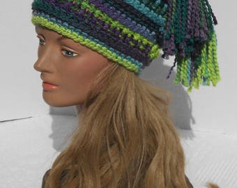 Hand crochet hat with 2 tassels
