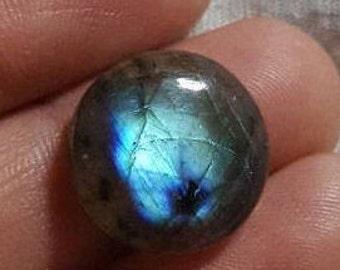 Labradoite natural plain round shape cabochon - 15mm x 5mm -STK-21-LBDL-08