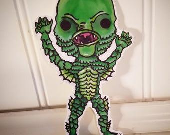 L@@K!!! Homemade Vinyl Kawaii Creature from the Black Lagoon Sticker