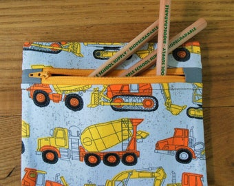 Pencil Pouch // Pencil Case // Crayon Case // Marker Case // Boy Pencil Case // Pencil Bag // Small Zip Pouch // Toy Pouch // Boy Mom