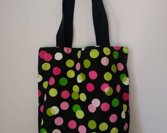 Medium Canvas Tote Bag - Pink and Green Polka Dots Pattern