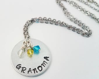 Grandma Hand Stamped Metal Jewelry Birthstone Neckace Grandmother Children Grandchildren Jewelry Grandchildren