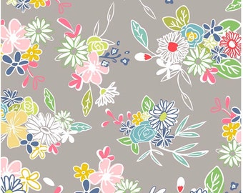 Gray Floral Cotton Fabric, Cotton Fabric By The Yard, 100% Cotton Fabric, Apparel Fabric, Quilting Fabric, Cotton Fabric,Riley Blake Fabric