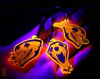 Dragon Skull - UV Fluorescent Charm