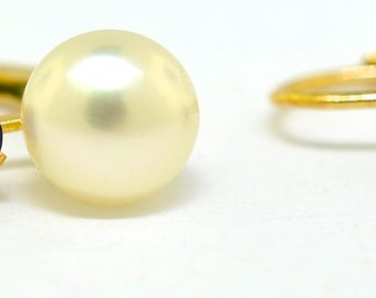 14k Gold And Sapphire Vintage Pearl Earrings