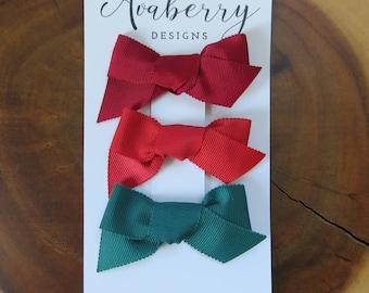 "The ""Holiday"" Grosgrain Bow Clip Set"
