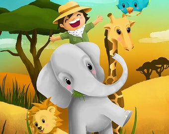 "Illustration for children ""En route to the Safari"""
