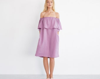 THALIA Ruffle Off The Shoulder Dress  / Washed Linen Women Dress / Ruffled Linen Dress /  Midi Linen Summer Dress / Maternity Dress