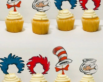Dr seuss cat in the hat and thing 1 , thing 2 cupcake toppers