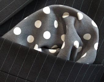Hankie Pocket Square Handkerchief Slate / White POLKA DOT.Premium Cotton UK Made