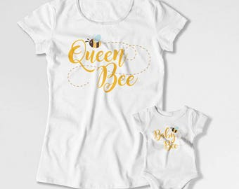 Mother And Daughter Outfits Matching T Shirts Mommy And Me Clothing Mom And Son Shirt Mom And Baby Gifts Queen Bee Baby Bee TEP-224-225