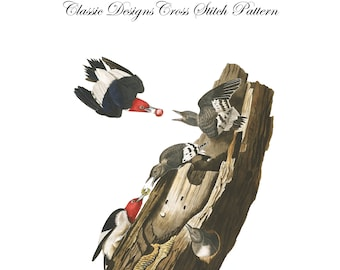 Audubon's Plate 27 Red Headed Woodpecker Cross Stitch Pattern