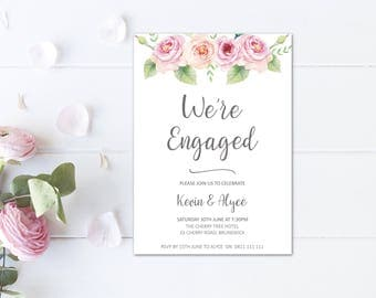Floral engagement invitations printable engagement party invitation, pink engagement invite, romantic we're engaged printables invites W01