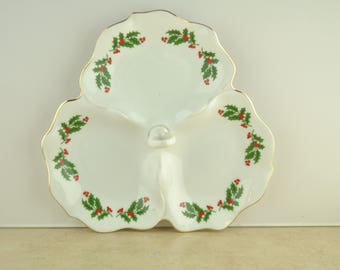 Vintage Christmas Holly Serving Dish