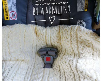 Knitting Pattern - Aran Baby Car Seat Blanket