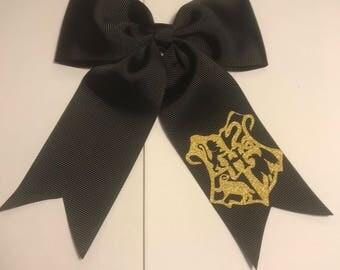 Harry Potter Hogwarts Crest Grosgrain Hair Bow with Tails on Alligator Clip or Ponytail Holder for Girls or Women, Gold Glitter Vinyl