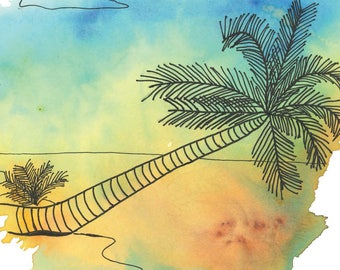 Palm Tree on Beach - Black Ink Drawing with Watercolor Effect