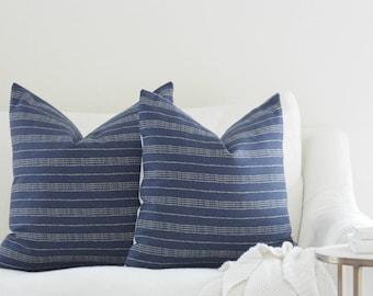 Blue pillow, navy pillow, striped pillow, aztec pillow, boho pillow, pillow cover, farmhouse pillow, accent pillow, accent pillow cover