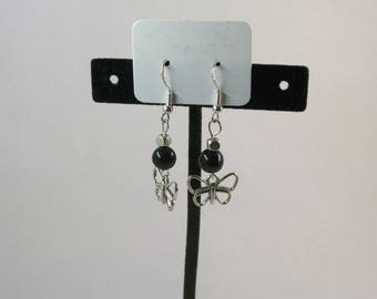 Blue goldstone and silver spacer with butterfly charm earrings