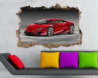 Lamborghini Huracan Car Decal Car Sticker Car Decor 3D Wall Crack Decal  Lambo Print Vinyl Sticker