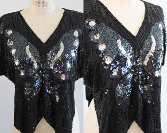 Vintage Black Sequin Butterfly Top Shirt Silver Dots