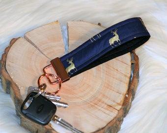 Metallic deer rose gold key fob wristlet   Key fob   Key holder   Unique Keychain   Key Chain   Wrist Strap