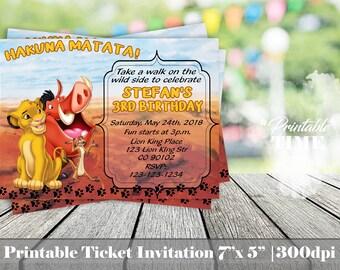 Lion King Invitation, Lion King Birthday Party Invite, Lion King Printable Invitation, Birthday Party Simba Pumba Timon Party Invitation