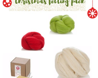 Needle Felting Kit - Red Green White Wool - Needle Felting Wool Christmas Crafts- Wet Felting Wool - Felting Wool for Toys - DIY Felting Kit
