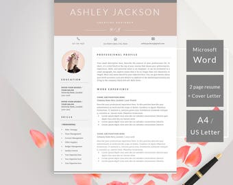 Modern Resume Template, Professional Resume Template Instant Download, Creative Resume CV, References + Cover Letter, Resume Template