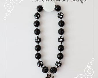 Bubblegum Halloween necklace with black cat charm, Black and White Bubblegum Necklace, Bubblegum Necklace