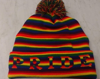 Rainbow Pride Pom Knit Hat