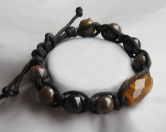 Men's Grounding, Protection and Vitality Natural Gemstone Macrame Bracelet