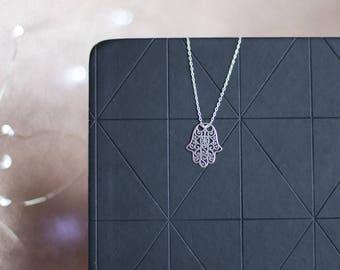 Fatima Hand Necklace | Hamsa Hand Necklace | Sterling Silver Hamsa Choker | Dainty Hamsa Necklace | Simple Silver Necklace