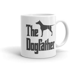 The Dogfather mug, Doberman silhouette, Dobermann silhouette, funny dog gift mug, The Godfather parody, dog lover mug, doberman gift